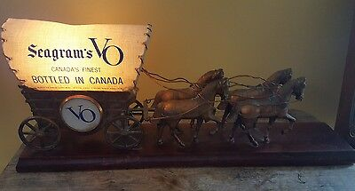 Seagram's VO Candian Whiskey Light Up Horse Drawn Covered Wagon, Man Cave