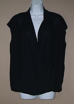 Womens Size Large Sleeveless Solid Black Career Occasion Blouse Top Shirt