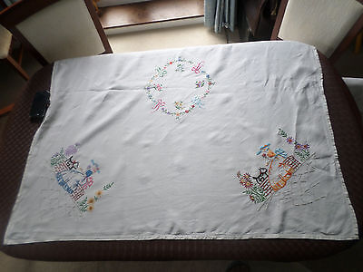 "Vintage hand embroidered linen Table cloth 49"" x 51"", 126/128 cm, Crinoline Lady"
