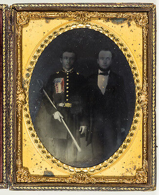 1/2 Plate Ambrotype Of S.c. Soldier With Sword And C.s.a. Patriotic Chest Badge