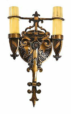 Single Functional 1920's Salvaged Cast Brass Spanish Revival Double Arm Sconce