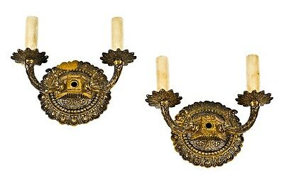 Pair Vintage American Spanish Revival Style Double Arm Wall Sconces With Electri