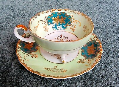 BEAUTIFUL Antique ROYAL SEALY CHINA 3 Footed CUP & SAUCER Vtg Japan Green & Gold