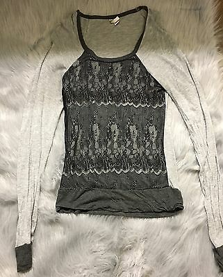 Degrees women's long sleeve shirt gray with black lace detail size S