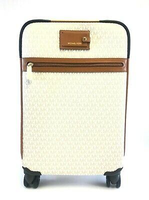 f31867501 New Michael Kors Signature Vanilla Pvc Travel Trolley Rolling Carry On  Suitcase