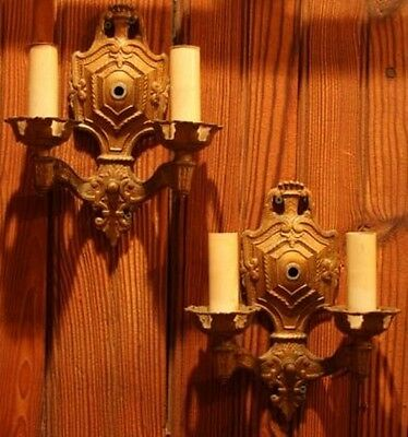 Pair Of Depression-Era Brass Plated Two Light Interior Electric Wall Sconces