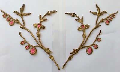 A PAIR OF ANTIQUE OTTOMAN TURKISH GOLD METALLIC HAND EMBROIDERIES APPLIQUE 27cm