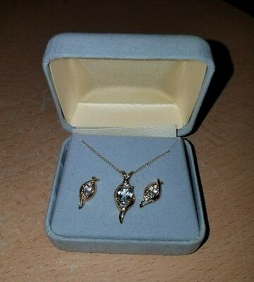 10K Yellow Gold and Aquamarine Necklace & Earrings Set