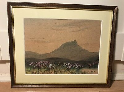 Charming Signed Victorian Watercolour Painting Of  Landscape In Wood Frame.