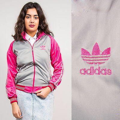 Adidas Originals Pink Grey Tracksuit Jacket Top Three Stripe Casuals Womens 6