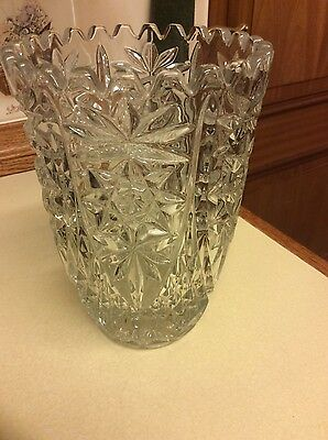 Beautiful large Vintage Heavy Glass lead Crystal type Vase.