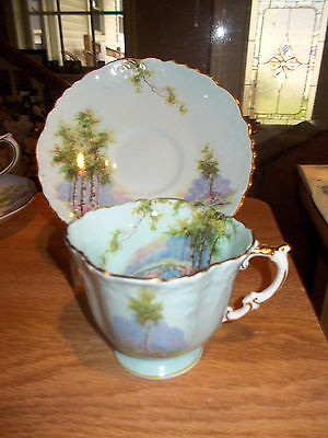 AYNSLEY Scenic Cup & Saucer - Blue w/Trees & Flowers