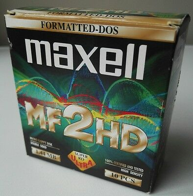 "Maxell Mf2Hd Mf-2Hd Floppy Disks X 10 3.5"" Double Sided Dos Formatted 1.44Mb"