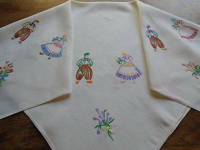 Superb Vintage Hand Embroidered Linen Tablecloth~ Dutch Scenes~Tulips~ Windmills