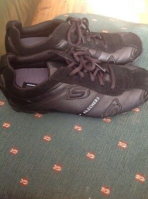 Ladies Size 4 SKECHERS Flex Appeal Black Leather Lace Up Trainers