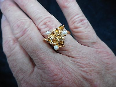 Authentic Vintage Gold Tone 1960s Golden Topaz & Seed Pearl Adjustable Ring