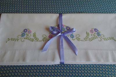 Two Gorgeous Matching Vintage Cotton Pillowcases~Superb Hand Embroidered Floral