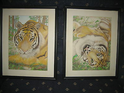 Lot Pair Vintage Original colored pencil drawings of A TIGER ,signed SIMON PEZ ?