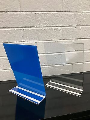 "8.5"" x 11"" Slant Sign Clear Acrylic Holder w/adhesive - 5 pack"