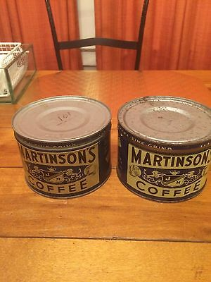 LOT OF 2 Vintage Martinson's Coffee Can'S