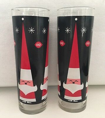 Vintage Dairy Queen Christmas Santa Set Of 2 Tall Glasses