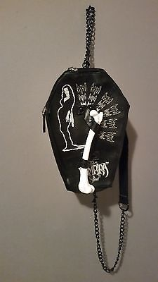 vampira coffin bag with a BONE HANDLE! PRE-OWNED, BLACK AND WHITE!