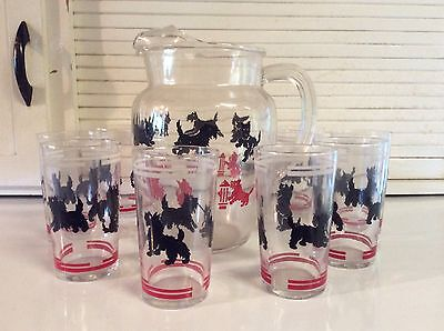 Federal Glass Scotty Dog Pitcher & Glasses (set of 8)
