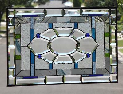 "• Sapphire Jewels •Beveled Stained Glass Window Panel • 30 ½""-18 ½"" (78-47Cm)"