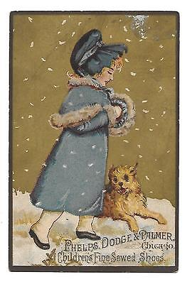 "Victorian Trade Card, ""phelps, Dodge,& Palmer"" Fine Sewed Shoes, Chicago,"