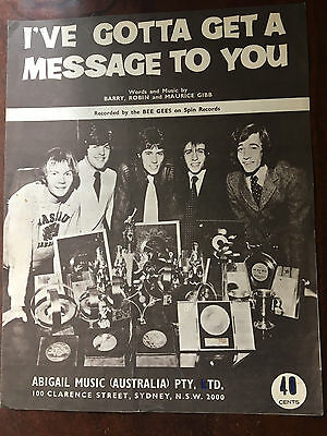 THE BEE GEES - I've Gotta Get A Message To You. Australian Sheet Music