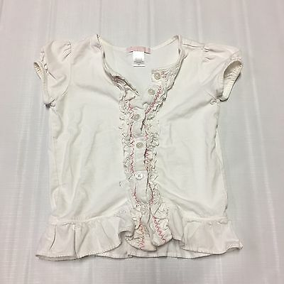 Toddler Girls Shirt Sz 4T Button Up Ruffles Pink White Janie And Jack Casual