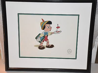 "Disney Sericel Pinocchio, ""Here's your Apple"" - FRAMED - LE - w/COA"