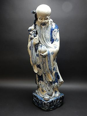 Massive Antique  Chinese Blue and White Porcelain Statue of Shoulao 32 Inches