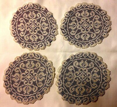 "Four Hand Made Darning on Net Italian Doilies w/Dark Red Lining 5 1/2"" Diameter"