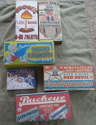 Lot of 6 Vintage Reproduction Fireworks Slide Boxes (Empty) #1