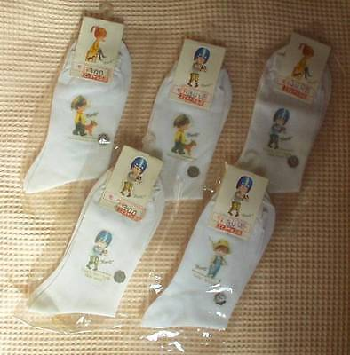 VINTAGE JAPANESE MOPPET SOCKS 5 (FIVE) PAIRS New in Packages*Ship to USA $7.99