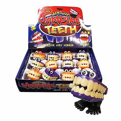 Bulk Lot x 12 Wind Up Chattering Vampire Teeth Kids Party Favor Novelty Toys