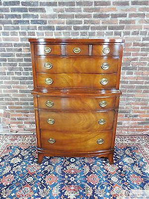 """Vintage Drexel Mahogany Federal Style Bow Front 6 Drawer 36""""W x 54.5""""H  Chest"""