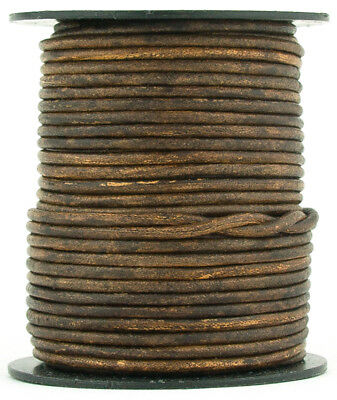 Xsotica® Brown Antique Round Leather Cord 2mm 25 meters (27 yards)
