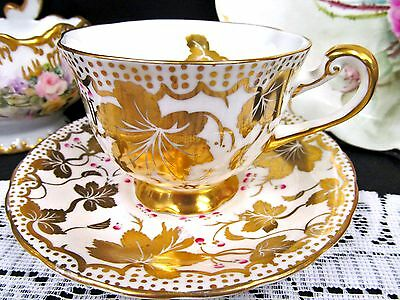 Royal Chelsea tea cup and saucer gold gilt leaves pattern teacup painted trims