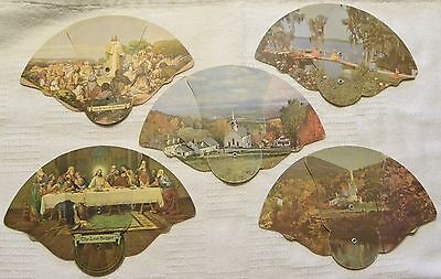 5 Vintage Fold-Out Religion Advertising Fans-BROWN FUNERAL HOME Paradise, PA.