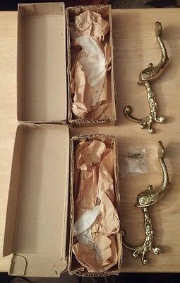 2 Vintage Fish Solid Brass wall hook Hanger Marine Decor Ship Boat Lot in Box