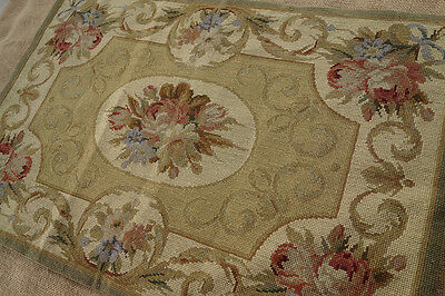 2' X 3' Vintage European Style HOME DECOR Needlepoint Rug ROSE & SCROLL #4