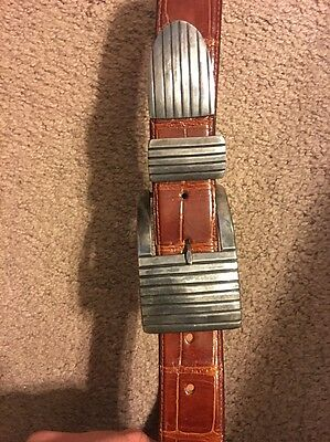 Pat Areias 3 Piece Sterling Buckle Set And Alligator Belt