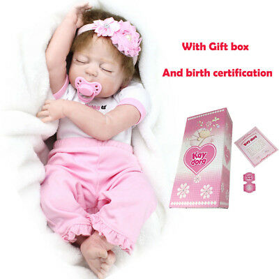 "22"" Reborn Baby Dolls Realistic Newborn Full Soft Vinyl Silicone Body Girl Doll"