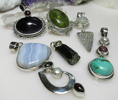 Jewelry Lot Sterling Silver PENDANTS BLACK TOURMALINE TURQUOISE RUBY MOONSTONE