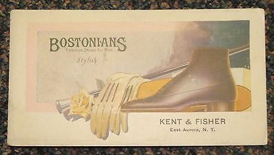 c1920s Bostonians Shoes ad blotter - Kent & Fisher, East Aurora, New York