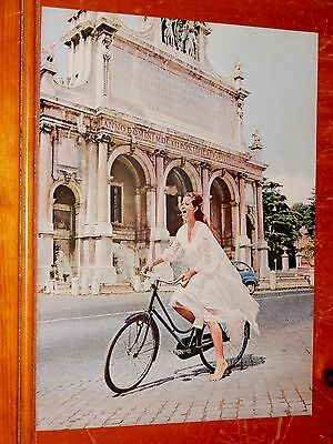 Large Picture Beautiful Woman On Bicycle In France 1960S - Vintage European Bike