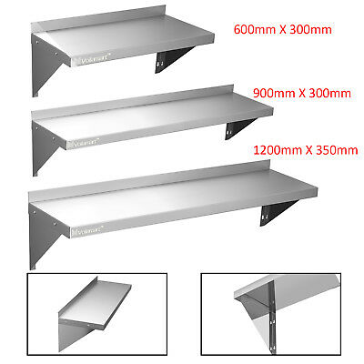 600 900 1200mm Stainless Steel Wall Shelf With Brackets Mounted Kitchen Shelves