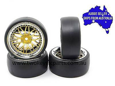 Yeah Racing drift wheels & tires to fit 1:10 RC cars +6 Gold/Chrome WL-0099